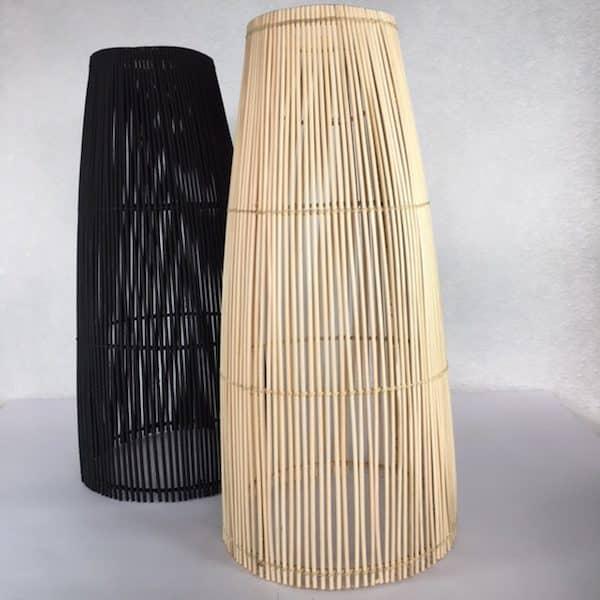 Abats jour en rotin naturel ou noir fabrication artisanale Simonne chic