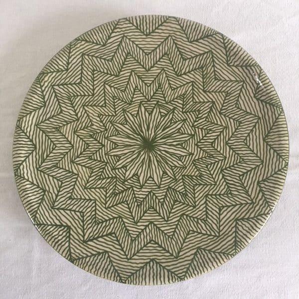 Assiette en poterie de Fès de couleur verte Hand made Simonne Chic