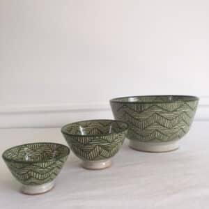 Poterie de Fès couleur verte saladier et bol artisanat Marocain Simonne Chic