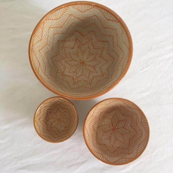 Poterie de Fes saladier bol couleur jaune artisanat du Maroc Simonne Chic