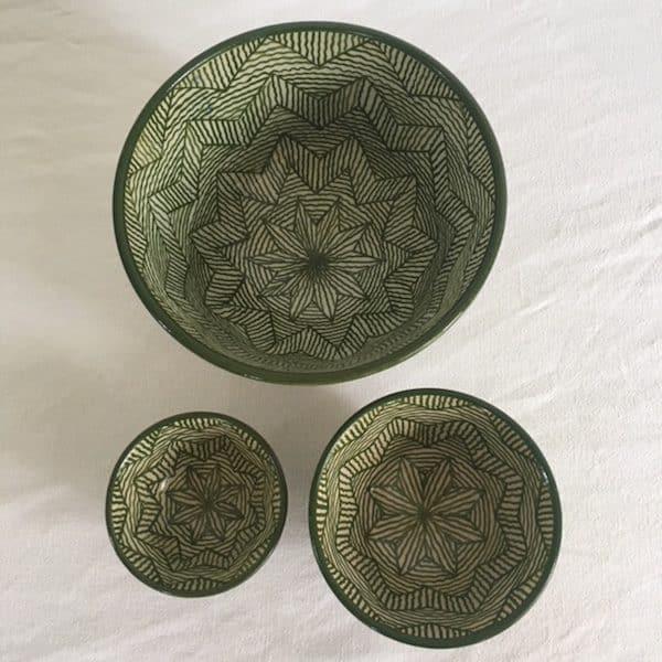 Poterie de Fès verte design vert et blanc bols et saladier artisanat du Maroc Simonne Chic