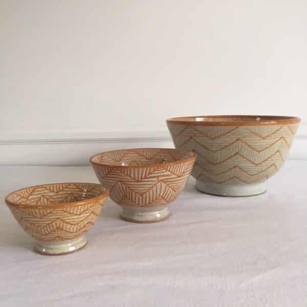 Saladier et bols en poterie de Fès couleur jaune design traditionnel Simonne Chic