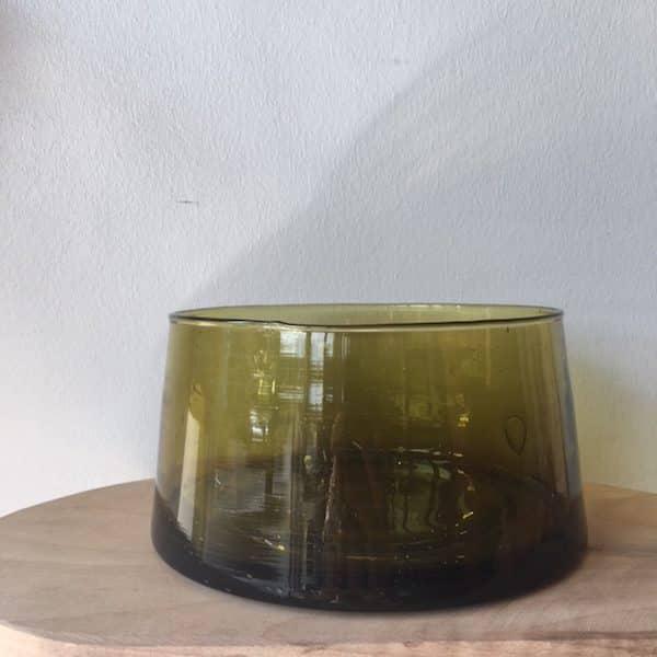 Saladier en verre recyclé et soufflé à la bouche verre beldi artisanat du Maroc Simonne chic