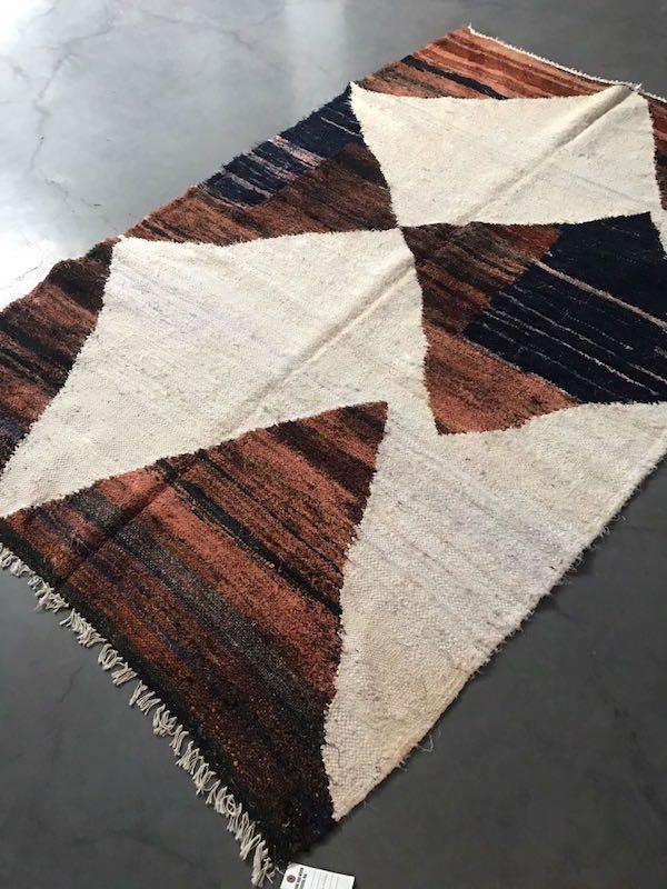Tapis boucherouite en coton fabrication artisanale dans la région de l'Ourika la seléction Simonne Chic