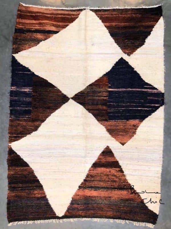 Tapis en coton tissé de type boucherouite région de l'ourika artisanat du Maroc La séléction Simonne Chic