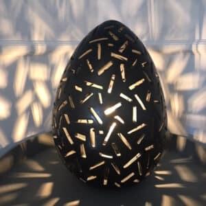 Lampe à poser en tadelakt noir artisanat du Maroc