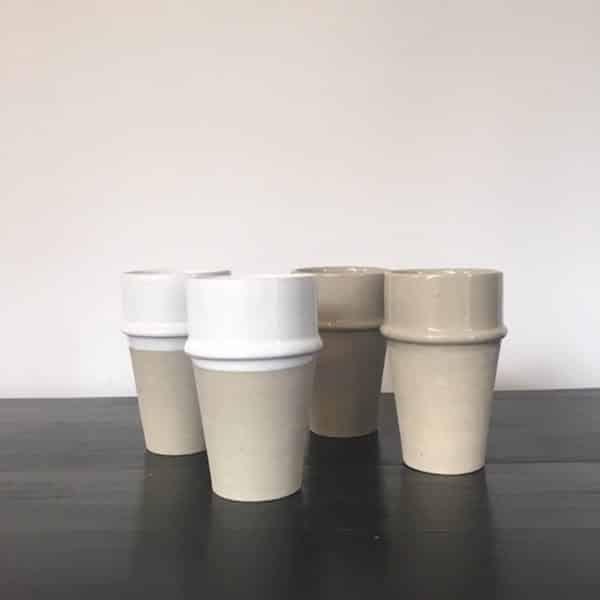 Verre Beldi en grès émaillé contraste mat et brillant Collection Café Crème fait main
