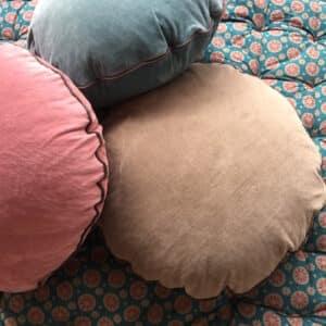 Coussin de sol rond en velours de coton rose bleu ou vert Kaki fabrication en Inde