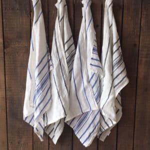 Torchons en lin rayé bleu ou noir linge de table